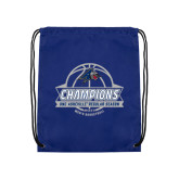 Nylon Royal Drawstring Backpack-Mens Basketball Champions Ball with ribbon