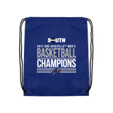Nylon Royal Drawstring Backpack-2017 Mens Basketball Champions Stacked