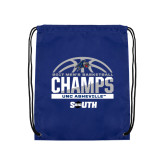 Royal Drawstring Backpack-2017 Mens Basketball Champions Half Ball