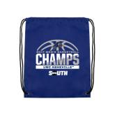 Nylon Royal Drawstring Backpack-2017 Mens Basketball Champions Half Ball