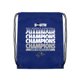 Royal Drawstring Backpack-2017 Womens Basketball Champions Repeating