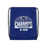Nylon Royal Drawstring Backpack-2017 Womens Basketball Champions Half Ball