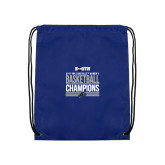 Royal Drawstring Backpack-2017 Womens Basketball Champions Stacked