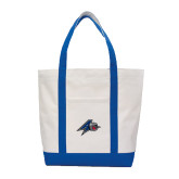Contender White/Royal Canvas Tote-A w/ Bulldog Head