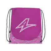 Nylon Zebra Pink/White Patterned Drawstring Backpack-A