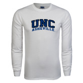 White Long Sleeve T Shirt-Arched UNC Asheville
