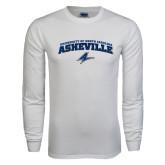 White Long Sleeve T Shirt-Arched University of North Carolina Asheville Bulldogs