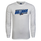 White Long Sleeve T Shirt-Slanted Bulldogs w/ Logo