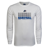 White Long Sleeve T Shirt-UNC Asheville Basketball Repeating
