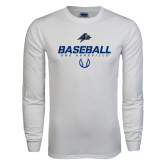 White Long Sleeve T Shirt-UNC Asheville Baseball Stencil