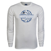 White Long Sleeve T Shirt-Mens Basketball Champions with Ball