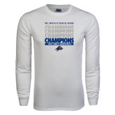 White Long Sleeve T Shirt-Mens Basketball Champions Stacked