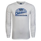 White Long Sleeve T Shirt-Mens Basketball Champions Half Ball