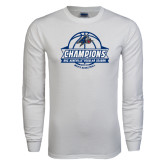 White Long Sleeve T Shirt-Mens Basketball Champions Ball with ribbon