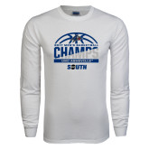 White Long Sleeve T Shirt-2017 Mens Basketball Champions Half Ball