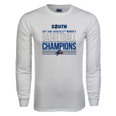 White Long Sleeve T Shirt-2017 Womens Basketball Champions Stacked