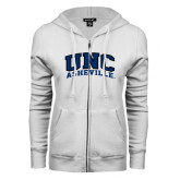 ENZA Ladies White Fleece Full Zip Hoodie-Arched UNC Asheville