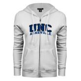 ENZA Ladies White Fleece Full Zip Hoodie-Arched UNC Asheville