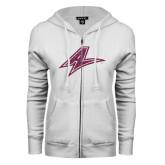 ENZA Ladies White Fleece Full Zip Hoodie-A Pink Glitter