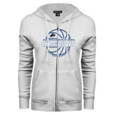 ENZA Ladies White Fleece Full Zip Hoodie-Mens Basketball Champions with Ball
