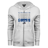 ENZA Ladies White Fleece Full Zip Hoodie-Mens Basketball Champions Stacked