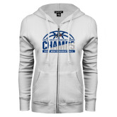 ENZA Ladies White Fleece Full Zip Hoodie-Mens Basketball Champions Half Ball