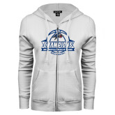 ENZA Ladies White Fleece Full Zip Hoodie-Mens Basketball Champions Ball with ribbon