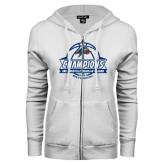 ENZA Ladies White Fleece Full Zip Hoodie-Mens Basketball Champions Ball with ribbon