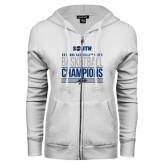 ENZA Ladies White Fleece Full Zip Hoodie-2017 Mens Basketball Champions Stacked