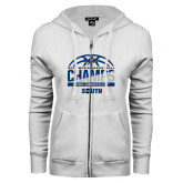 ENZA Ladies White Fleece Full Zip Hoodie-2017 Mens Basketball Champions Half Ball