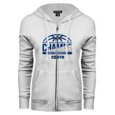 ENZA Ladies White Fleece Full Zip Hoodie-2017 Mens Basketball Champions Half Ball
