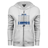 ENZA Ladies White Fleece Full Zip Hoodie-2017 Mens Basketball Champions Repeating