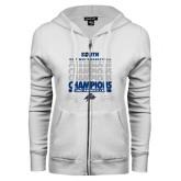 ENZA Ladies White Fleece Full Zip Hoodie-2017 Mens Basketball Champions Repeating