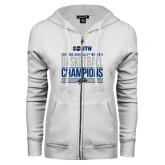 ENZA Ladies White Fleece Full Zip Hoodie-2017 Womens Basketball Champions Stacked