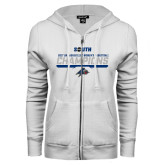 ENZA Ladies White Fleece Full Zip Hoodie-2017 Womens Basketball Champions