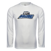 Performance White Longsleeve Shirt-Bulldogs w/ Bulldog Head