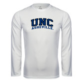 Performance White Longsleeve Shirt-Arched UNC Asheville