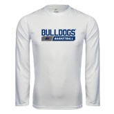 Performance White Longsleeve Shirt-Bulldogs Basketball Bar