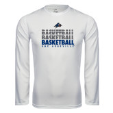 Performance White Longsleeve Shirt-UNC Asheville Basketball Repeating