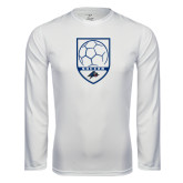 Performance White Longsleeve Shirt-Soccer Shield