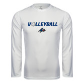 Performance White Longsleeve Shirt-Volleyball w/ Ball