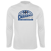 Syntrel Performance White Longsleeve Shirt-Mens Basketball Champions Half Ball