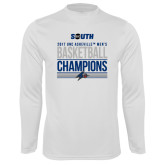 Performance White Longsleeve Shirt-2017 Mens Basketball Champions Stacked