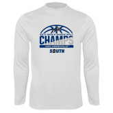 Syntrel Performance White Longsleeve Shirt-2017 Mens Basketball Champions Half Ball