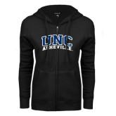 ENZA Ladies Black Fleece Full Zip Hoodie-Arched UNC Asheville