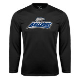 Performance Black Longsleeve Shirt-Bulldogs w/ Bulldog Head