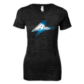 Next Level Ladies Junior Fit Black Burnout Tee-A Foil