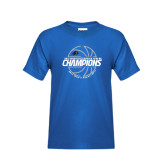 Youth Royal T Shirt-Mens Basketball Champions with Ball