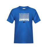 Youth Royal T Shirt-Mens Basketball Champions Stacked