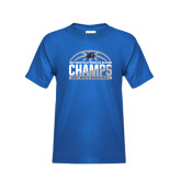Youth Royal T Shirt-Mens Basketball Champions Half Ball